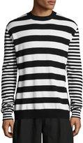 McQ Alt-Stripe Wool-Cashmere Crewneck Sweater