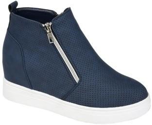 Brinley Co. Womens Dual Zipper High top Wedge Sneaker