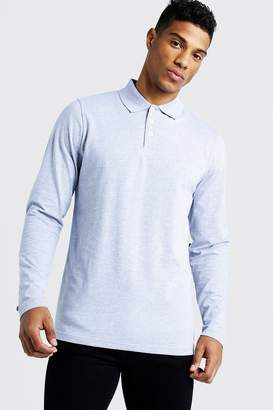 boohoo Long Sleeve Jersey Polo