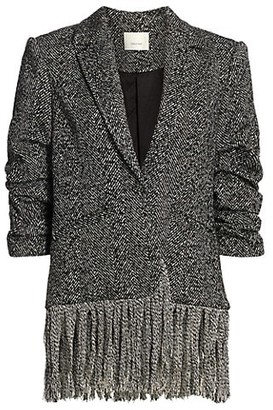 Cinq à Sept Claudia Scrunch-Sleeve Fringe-Hem Jacket