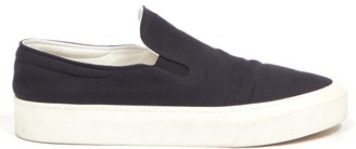 The Row Mary H Leather And Canvas Trainers - Black