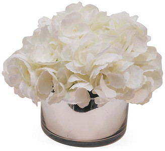 """9"""" Hydrangea in Bowl - Faux - The French Bee - arrangement, white; vessel, clear"""