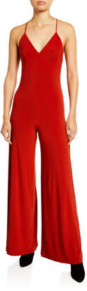 Norma Kamali Low-Back Wide-Leg Slip Jumpsuit
