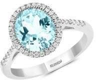 Effy 14K White Gold, Aquamarine & Diamond Ring