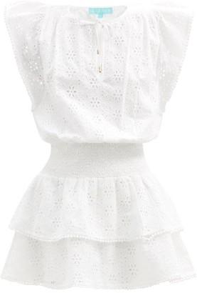 Melissa Odabash Keri Broderie-anglaise Cotton-voile Mini Dress - White