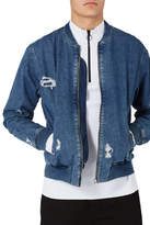Topman Distressed Denim Bomber Jacket