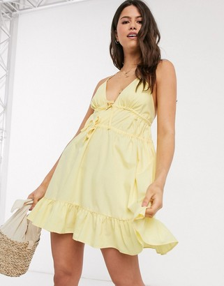 ASOS DESIGN cotton poplin plunge cami cross back sundress in yellow