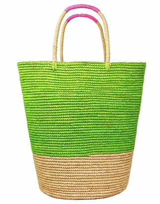 Sensi Beige and Lime Tall Triple Tone Beach Basket