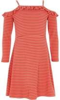 River Island Girls red stripe frill bardot jersey dress