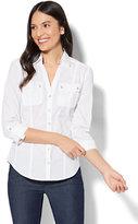 New York & Co. 7th Avenue - Madison Stretch Shirt - Striped Grosgrain-Trim