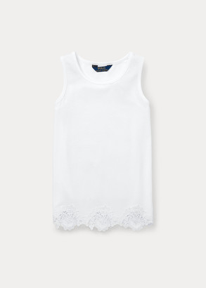 Ralph Lauren Lace-Trim Cotton-Modal Tank