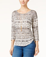 Almost Famous Juniors' Printed High-Low Top with Necklace