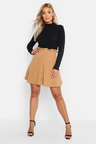 Thumbnail for your product : boohoo Plus Paper Bag Button Detail Skater Skirt