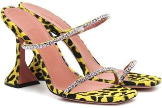 Amina Muaddi Exclusive to Mytheresa a Gilda embellished calf hair sandals