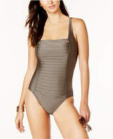 Calvin Klein Solid Pleated One-Piece Swimsuit,A Macy's Exclusive Style Women's Swimsuit