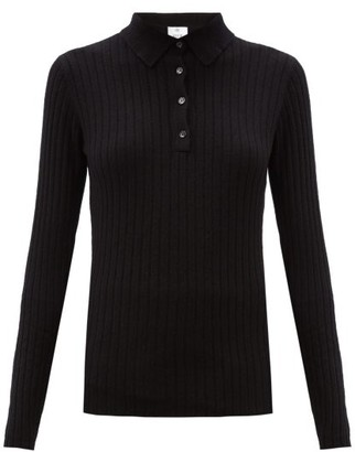 Allude Ribbed Cashmere Polo Sweater - Black