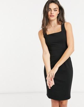Closet London square-neck pencil midi dress in black