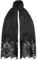 Valentino Lace-paneled Modal And Cashmere-blend Scarf - Black