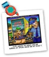 3dRose LLC qs_2902_1 Londons Times Funny Cat Cartoons - Dubious Cat Truck Driver - Quilt Squares