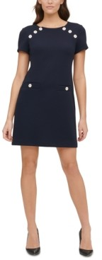 Tommy Hilfiger Pique-Knit Button-Detail Shift Dress