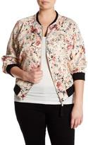Jolt Floral Print Bomber Jacket (Plus Size)