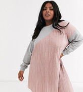 Asos DESIGN Curve plisse mix sweat dress