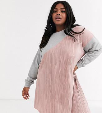 Asos DESIGN Curve plisse mix sweat dress-Gray