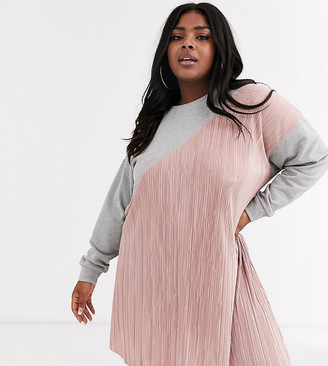 ASOS DESIGN Curve plisse mix sweat dress