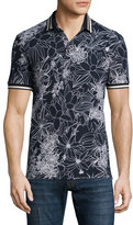 Etro Floral-Print Short-Sleeve Pique Polo Shirt, Black/White