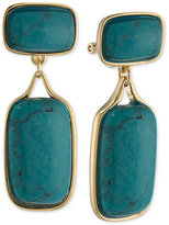 Lauren Ralph Lauren Gold-Tone Large Stone Clip Earrings