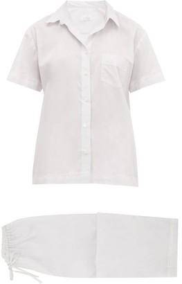 POUR LES FEMMES Lace-trimmed Cotton Pyjamas - Grey