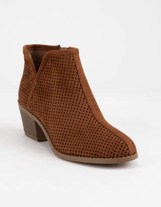 Soda Sunglasses Perforated Side Notch Cognac Girls Booties