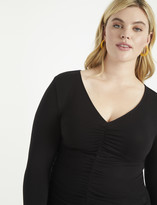 ELOQUII Center Ruched Long Sleeve Top