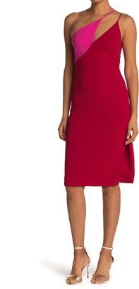 Bebe One Shoulder Colorblock Dress