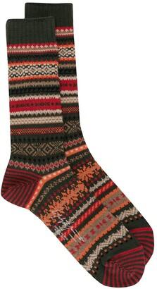 Yohji Yamamoto Fair-Isle Knitted Socks