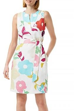 Hobbs London Daria Floral Linen Sheath Dress
