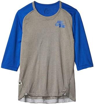 Nike Kids 3/4 Sleeve Flux Top (Big Kids) (Team Royal/Dark Grey Heather/Game Royal) Boy's Clothing