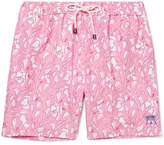 Pink House Mustique Mid-Length Hibiscus-Print Swim Shorts