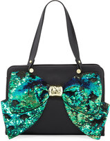 Betsey Johnson Bow Regard Sequin Satchel Bag, Black