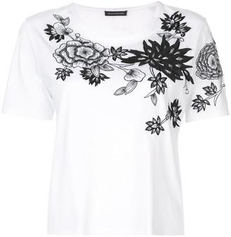 Josie Natori floral embroidered T-shirt