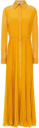 Roberto Cavalli Pleated Silk Crepe De Chine Maxi Shirt Dress