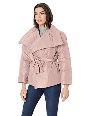 Lark & Ro Women's Long Sleeve Short Puffer Coat with Wrap