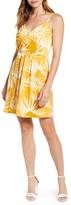 Gibson Natalie Satin Faux Wrap Mini Dress