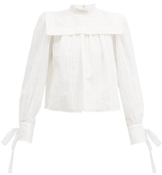 Isabel Marant Gilokia Cuff-tie Broderie-anglaise Blouse - White