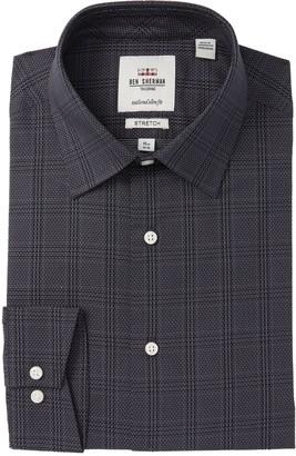 Ben Sherman Windowpane Dot Tailored Slim Fit Dress Shirt