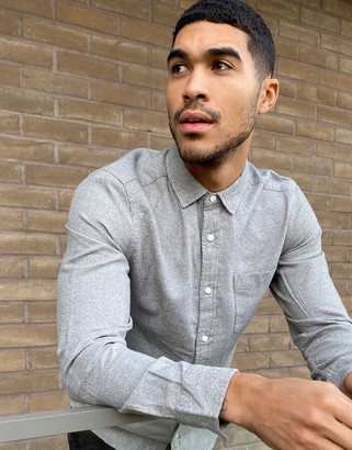 ASOS DESIGN regular fit flannel shirt in light gray