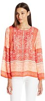 Vince Camuto Women's Bell-Sleeve Delicate Maze Panel Blouse
