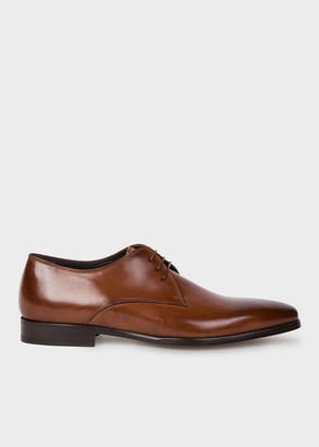 Paul Smith Men's Tan Leather 'Coyle' Derby Shoes With 'Signature Stripe' Details