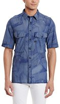 G Star Men's Type C Straight Shirt Short Sleeve Lt Wt Torg Chambray Duck
