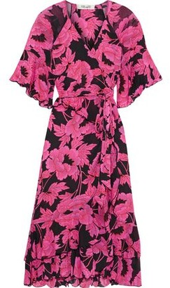 Diane von Furstenberg Zion Ruffled Floral-print Stretch-mesh Wrap Dress